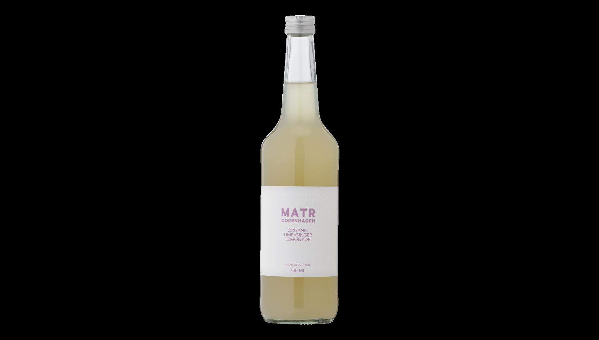 Økologisk lime ingefær lemonade i glasflaske