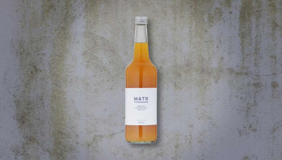 Økologisk passionsfrugtnektar i glasflaske